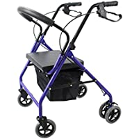 Walker JIE AJS Ayudas Más Antiguas con Rodillos Vehículos Auxiliares Plegables Regulable En Altura Incapacitado, Inconveniente para Moverse, Fácil De Transportar A+ (Color : Azul)