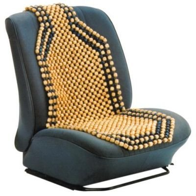 CAMEL COLOUR WOODEN BEAD/BEADED CAR & VAN INTERIOR FRONT SEAT COVER TO AID BACK SUPPORT by Other