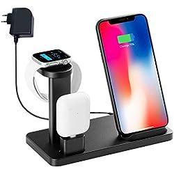 Support de Chargeur sans Fil pour Station de Charge Rapide Iwatch, Station d'accueil YOMENG 10W Qi Dock en Aluminium pour Apple Watch série 5 4 3 2 1 et IPhone 11 X XR XS Max 8 11 Plus et AirPods Pro