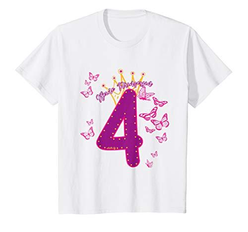 Kinder Geburtstagsshirt 4 Jahre Mädchen Prinzessin Schmetterling