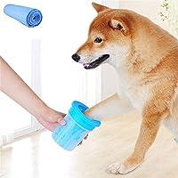Teammao Hund Katzen Pfote Reiniger,Tragbarer Haustier Fuß Waschen Tasse Fußreinigungsbürste Cup Entfernen Sie Schlamm Und Schmutz Von Ihren Hunden Pfoten(L, Blau)