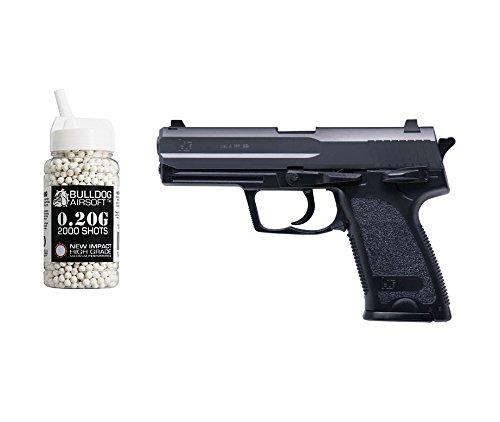HFC HA-112 Softair Federdruck Pistole P8 Stil Schwarz, 0.5 Joules, GRATIS 2000 Bulldog BBS 0.20G -