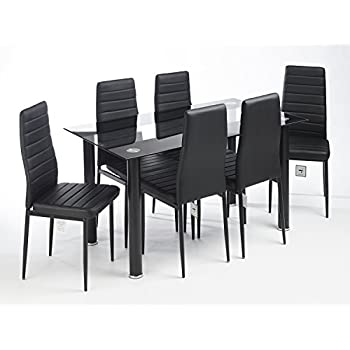MODERN GLASS DESIGNED CONTEMPORARY DINING TABLE SET WITH 6 FAUX ...
