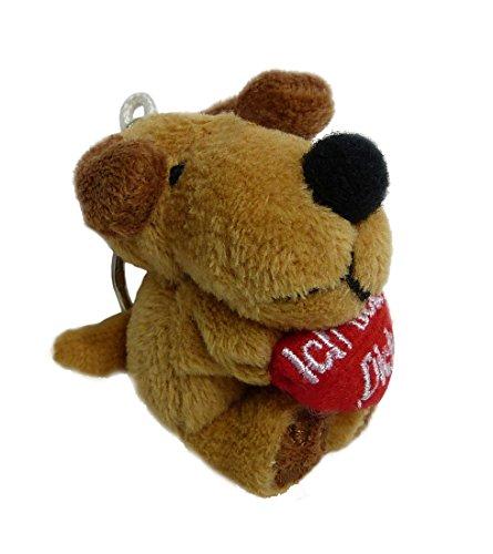TrachtExemplar Süßer Plüsch Hund mit Herz – Ich Liebe Dich – Schlüsselanhänger – Taschenanhänger – flauschig weich – braun