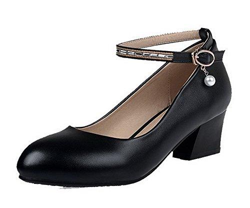 AllhqFashion Damen Rund Zehe Schnalle Pu Leder Eingelegt Mittler Absatz Pumps Schuhe Schwarz