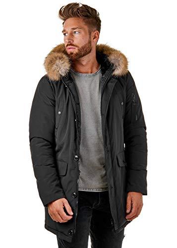 BR1845 Herren Winter-Jacke Echtfell Parka Gefüttert Schwarz Khaki, Größe:S, Farbe:Schwarz