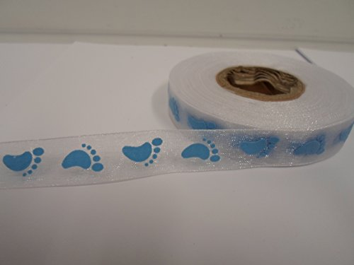 2-metres-x-15mm-organza-ribbon-white-with-blue-baby-feet-15-mm-vat-registered
