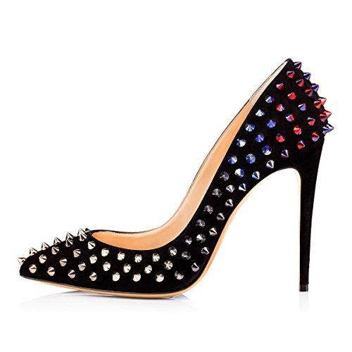 Damen Pumps Hohe Absatz Stiletto Spitze Zehenkappe Komfort mehrfarbige Lady Schuhe Rot Und Schwarz