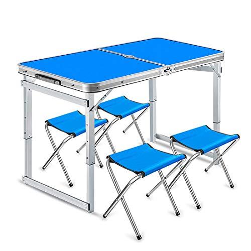 Aluminium Tragbare Picknicktisch Klapp Camping und Stühle Hocker Set Party Feld Küche Outdoor Garten BBQ Faltbare mit Griff,Blue