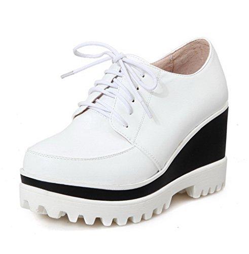 VogueZone009 Damen Weiches Material Rund Zehe Hoher Absatz Reißverschluss Rein Pumps Schuhe Weiß n6BNnMB5x