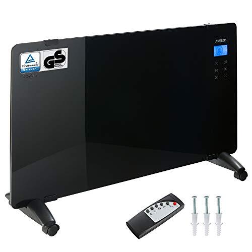 Arebos Glaskonvektor schwarz / 2000 Watt / 83 x 47 cm / 24h Timer/Touchpad / Fernbedienung/Thermostat / Wandmontage oder zum Stellen/GS geprüft von TÜV Rheinland
