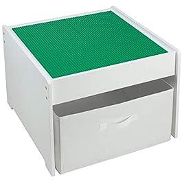 FridaKids – Tavolo da gioco 2 in 1, in legno, compatibile con costruzioni in plastica e scatola, colore: Bianco Piastre verdi