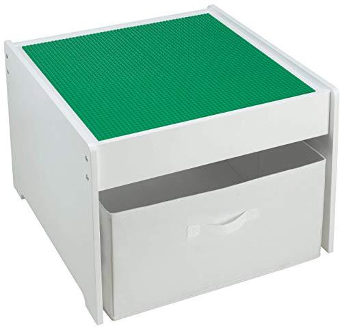 Fridakids 2in1 Spieltisch aus MDF-Holz, Bauplatten kompatibel für Bausteine, inklusive Aufbewahrungsbox. Platten: (Grün) - Großen Grundplatten Lego