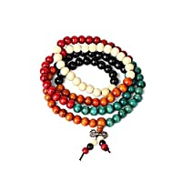8mm Multicolor Prayer Beads Mala Bracelet,108 pcs Sandalwood Tibetan Buddhist Buddha Meditation Necklace