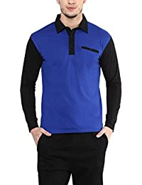 Hypernation Royal Blue And Black Color Cotton Polo T-shirt For Men.