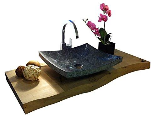 Waschbecken aus Naturstein, Granit, Model Dublin, schwarz, Pearl Blue, 45x40cm -