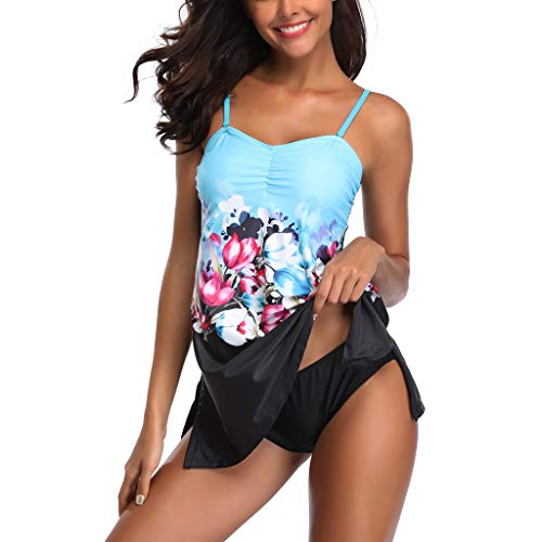 POIUDE Damen Bikini Sets Größe Zweiteiliger Schwimmrock Hohe Taille Exquisite Konservativ Bademode Geteilter Badeanzug(Blau, Large)
