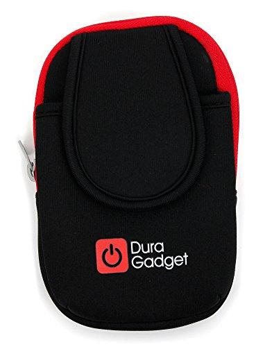 Hochwertige Oberarmtasche / Armband-Tasche für Samsung Galaxy S3 Mini (GT-I8200) Smartphones; verfügt über zwei Fächer und eignet sich für den Arm oder das Bein - Farbe: Schwarz / Rot