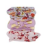 Leayao 3Pcs Baby Girls Bunny Ear Bowknot Headband Sets Floral Printed Turban Knot Head Wraps Photography Accessories Newborn Baby Hairband Kit