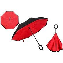 fe10149a811b Ombrello invertito Doppio Strato Ombrello Pieghevole inverso Protezione UV  Antivento Ombrello Grande Dritto per Auto Pioggia