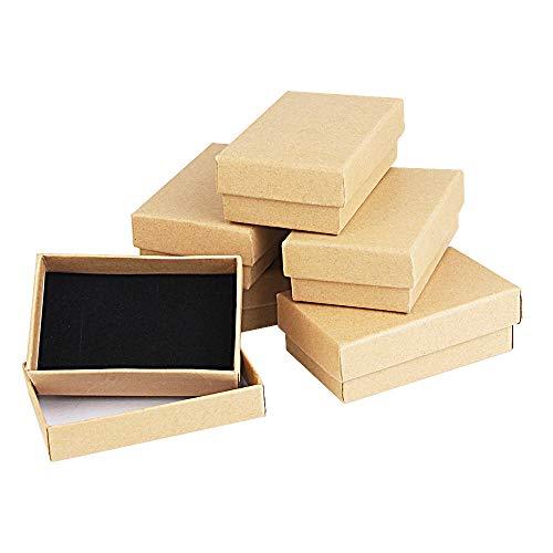 Kbnian 24pcs Cajas de Regalo Rectangulares 8 x 5 x 2,8 cm Papel Kraft Cajas de Cartón con Espuma Características: -- Fabricado de papel kraft de alta calidad. -- Se trata de una Caja de Regalo con un estilo retro. Es muy elegante y resistente para co...