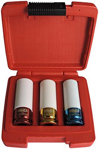 Famex Tools 102828 - Set Composto da 3 Chiavi a Bussola per Dadi Ruote, 17/19/21 mm