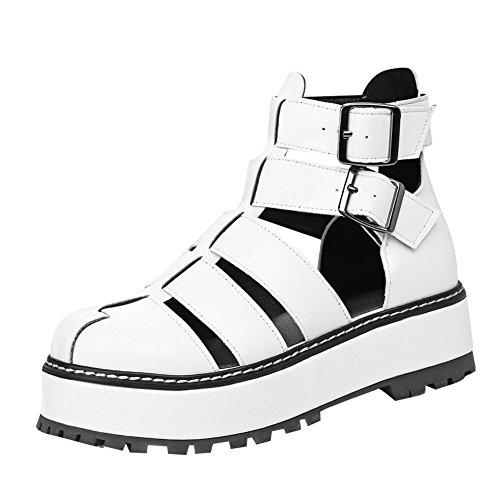 Mee Shoes Damen runde Knöchelriemcehn Platform Plateau Sandalen Weiß