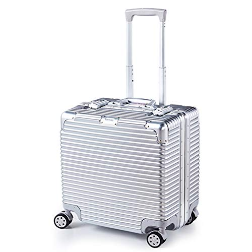 DYFYMX Koffer Reisewagen Trolley, Leichter Universal-Radkoffer (Color : Glossy - Silver, Size : 18 inches)