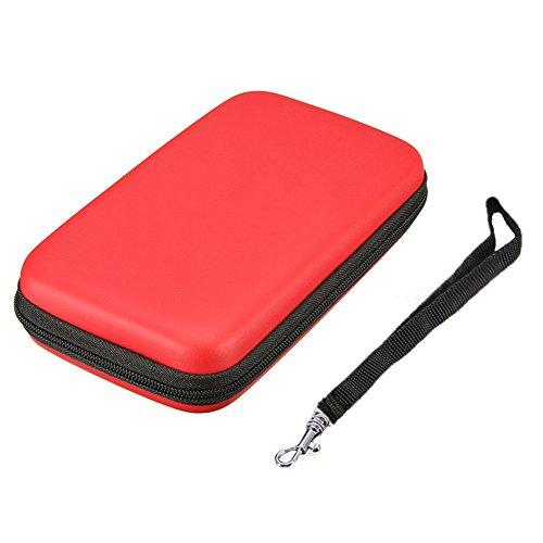 Tragbare Eva Haut Hartschale Aufbewahrungsbox mit Schutzhülle Tasche für Nintendo New 3DS XL LL 3DSXL 3DSLL Konsole (Rot)