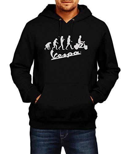 SWEATSHIRT Vespa Evolution Logo Sudaderas con Capucha Hoodie Ropa Hombre Men Car Auto tee Black Grey Negro Gris Long Sleeves Mangas Largas Present Christmas (S, Black)