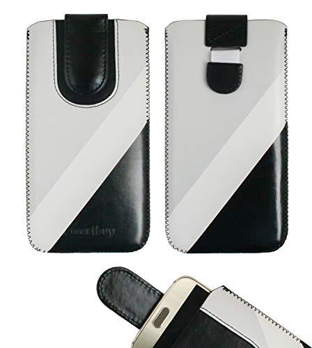 emartbuy Schwarz/Grau Premium-Pu-Leder-Slide In Case Abdeckung Tashe Hülle Sleeve Halter (Größe LM4) Mit Zuglaschen Mechanismus Geeignet Für Die Unten Aufgeführten Smartphones