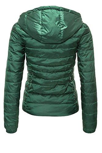 ONLY Damen Steppjacke Übergangsjacke Kapuzenjacke Leichte Jacke (XS, Hunter Green) - 3