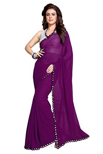 Mirchi Fashion da donna specchio bordo ultima indiano Saree Unstitched Blouse Piece Purple Taglia Unica