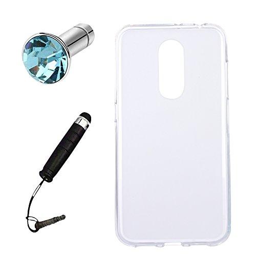 Lusee® Silikon TPU Hülle für ZTE Blade A910 5.5 zoll Schutzhülle Case Cover Protektiv Silicone halb transparent weiß