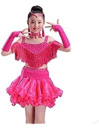 e9454d5c5f8d YZLL Vestito da Ballo Latino per Bambini Ragazze Paillettes Abito da Ballo  Latino Fringe Diamante Caldo