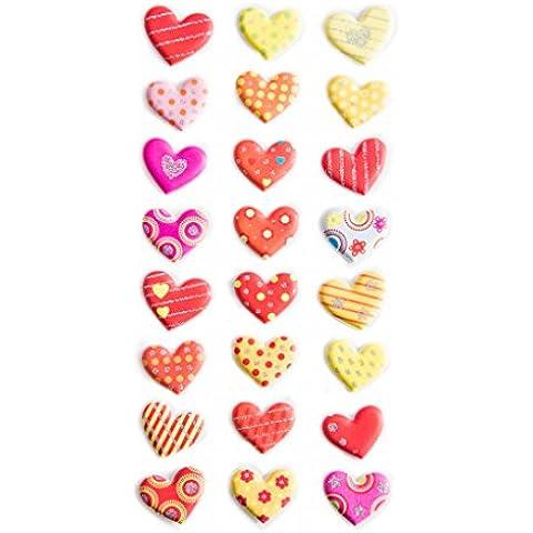 24Rosa, Naranja, Rojo, amarillas Corazones Stickers Pegatinas; 2cm Grande para manualidades, Adornar y scrapbooken