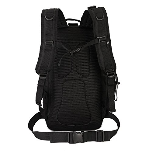 Huntvp Taktischer Rucksack Militärischer Trekkingrucksack Wasserdicht Assault Rucksack Backpack Reisetaschen Fahrradrucksack für Reisen Bergsteigen Camping Radfahren 30L Schwarz