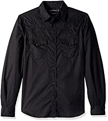 French Connection Mens Falcon Crested Button Down Shirt, Black, XL