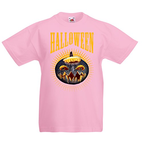 Kinder T-Shirt Halloween Kürbis - Party Kostüm Ideen 2017 (3-4 years Pink Mehrfarben)