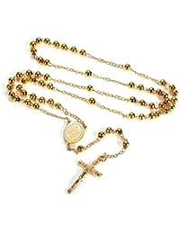 95118daa6350 FaithHeart - Collar Rosario con Medalla de Nuestra Señora y Crucifijo Jesús  Joyería con Perlas Coloradas