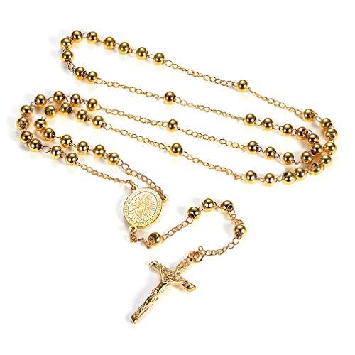 (FaithHeart Coins Edelstahl Dame Edelstahl Kette Kreuz Anhänger Lange Halskette nacklace Perlen Rosenkranz Geschenk Gelb Lange)