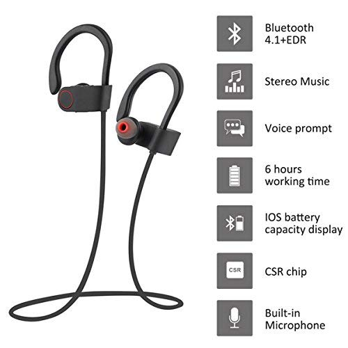 Bluetooth Kopfhörer, ARTHOME Bluetooth 4.1 Sport Stereo In Ear Kopfhörer inklusive Mikrofon für iOS- und Android-Geräte usw, für iPhone, iPad, Samsung, Nexus, HTC und mehr - 3