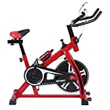 Kitechildhrrd SP6901 Hometrainer LCD Fitnessfahrrad Heimtrainer Fitness Bike Indoor Cycle Trimmrad Cycling Fitnessbike Fahrradtrainer Fahrrad Ergometer bis 120 KG, Rot