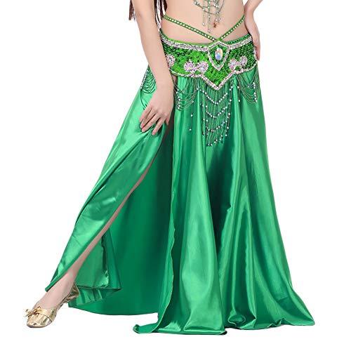 Und Tanzkostüm Grüne Schwarze - DaiHan Frauen Bauchtanz Hoch Aufgeteilt Lange Öffnungs Elegant Tanzkostüme Dunkelgrün Eine Größe