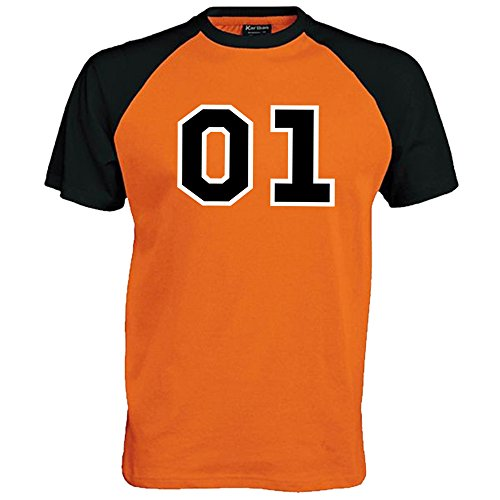 01 General Lee Unisex Baseball T Shirt , Orange/Black