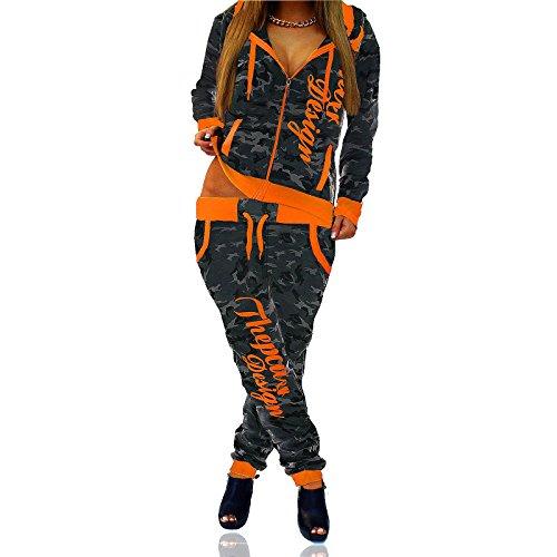 Akki Damen Trainingsanzug Frauen Sport Fitness Anzug oder für zuhause mit Jogginghose und Sweetjacke Camouflage Muster gemütlicher Jogginganzug Camou OR XXL