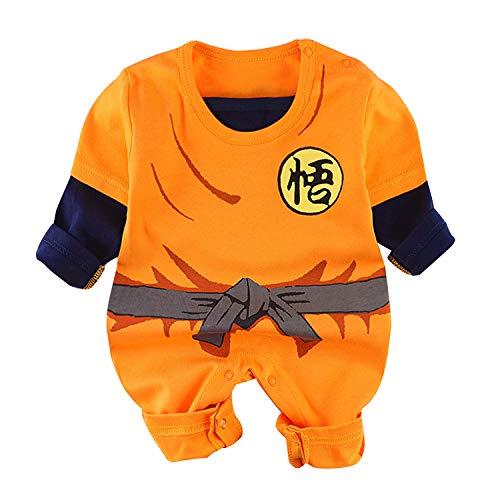 Beal Shopping - Mono de manga larga para bebé, diseño de Goku - Naranja - 9- 12 meses