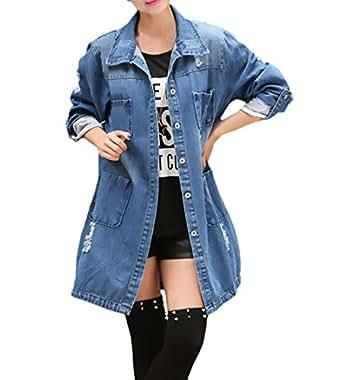 Damen Jacken Jeansjacke Mädchen Mit Lang Oversize Elegant TFlJ3K1c