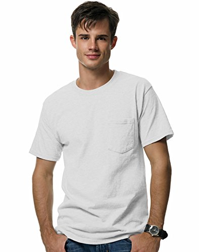 Hanes Beefy-T Adult Pocket T-Shirt M White (Hanes-pocket-tees)