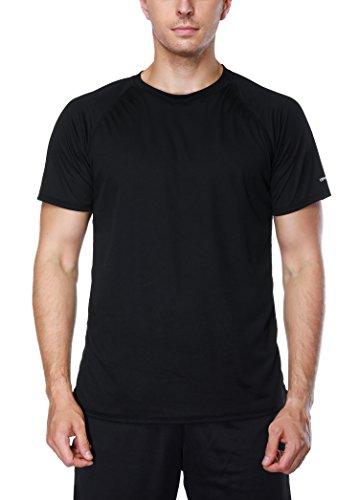Attraco Herren Bademode Rashguard UV Schutz Shirts Kurzarm Surf Shirt Badeshirt UPF 50+ Schwarz 2XL